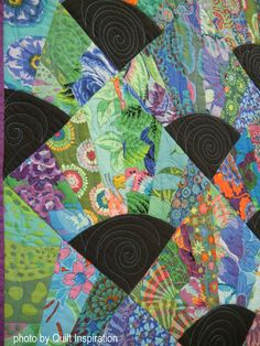 """Peacock, 98 x 98"""", by Joan Chao, quilted by Anne Christopher. 2016 AQS Quilt…"""