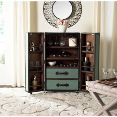 Safavieh Lexington Storage Sage Bar Cabinet