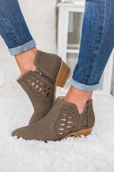 Take A Chance Cutout Detail Booties (Olive) Womens Summer Shoes, Womens Golf Shoes, Ankle Booties, Bootie Boots, Women's Boots, Over Boots, Clearance Shoes, Boutique, Boho