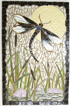 mosaic, dragonfly, pond - lovely very serene Stained Glass Patterns, Mosaic Patterns, Stained Glass Art, Mosaic Wall, Mosaic Glass, Mosaic Tiles, Pebble Mosaic, Mosaic Crafts, Mosaic Projects