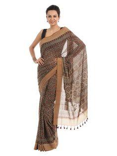 Fabindia Brown Hand Printed Sari | Myntra via @myntra