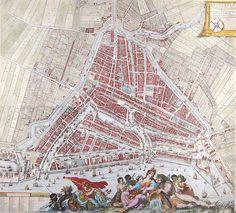 Kaart van rotterdam door johannes de vou 1694