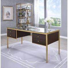 Glass Desk, Wood Glass, Glass Office Desk, Mobile File Cabinet, Gold Desk, Wooden Drawers, Acme Furniture, House Furniture, Wood Steel