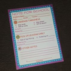 Note For School Printable Backtoschool Absence Form Interview