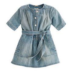 Girls' denim henley dress