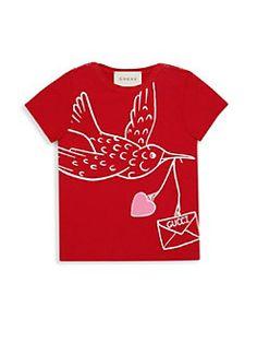 Gucci - Baby's Dove-Print Cotton T-Shirt