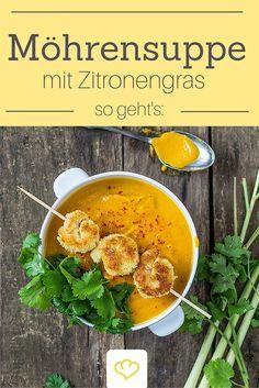 Abwechslung auf dem Suppenteller gefällig? Wie wäre es da mit einer exotischen Möhrensuppe mit feiner Zitronengras-Note und knusprigen Kokosgarnelen!
