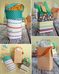 DIY: custom gift bag out of scrapbook paper