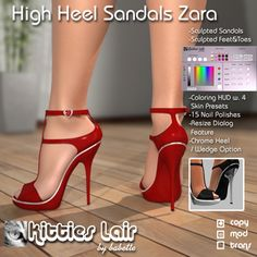 7a33c60186774 Second Life Marketplace -  KL  Sandals Zara - Sangria Sangria