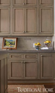 taupe glass backsplash, clamshell cesarstone countertop | home