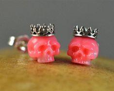 Hand Carved Pink Coral Skulls Wearing Sterling Silver Crowns Stud Earrings - Skull Earrings - Coral Earrings - Anniversary - Birthday