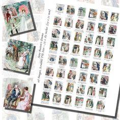 Images,Digital,Stickers,Collage,Illustration,jane austen,emma,c e brock,brock,art,scrabble tile,rectangle