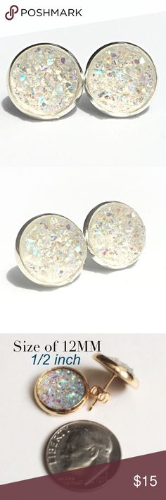 3 for 15🎀Crystal Clear chunky Druzy style studs New! Handmade by me 1/2 inch, 12mm acrylic faux druzy bead in silver tone earrings. Silver backings. Lead & nickel free. PRICE FIRM if purchasing 1 pair($8). No trades.  ➡️TO GET 3 FOR 15 deal⬅️ ✅Click Add to Bundle under any 3 items (marked 3 for 15) ✅Make offer for $15 ✅I'll accept your offer ✅ Additional items $5 each so 4 pairs=$20, 5 pairs=$25, etc. If you need help, let me know 😊 thejeweladdict Jewelry Earrings