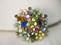 WEISS Mutlicolored Rhinestone and Enamel Bouquet Brooch Pin   eBay