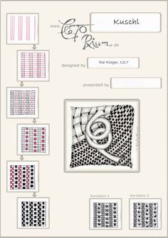 Kuschl. Tangle Pattern with Variations and Example by Ela Rieger, CZT / Elatorium.