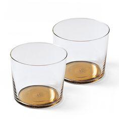 A subtle understated way to use metallic in glassware. Coro Glassware via Serena & Lily