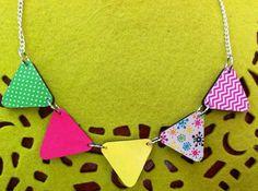 "Neon ""pop"" bunting necklace"