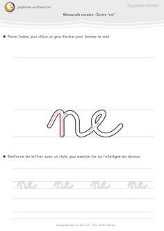 Apprendre à écrire la cursive en Grande Section - Combinaisons de lettres cursives: ne, nom, gag, jeu, yoga, zoo, fil, taxi, sac, rien. PDF Maternelle GS.