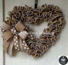 Wedding wreath burlap wreath heart wreath by MrsChristmasWorkshop