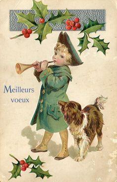A Christmas dog. Old Time Christmas, Old Fashioned Christmas, Christmas Past, Victorian Christmas, Vintage Christmas Cards, Vintage Holiday, Christmas Pictures, Christmas Greetings, Xmas