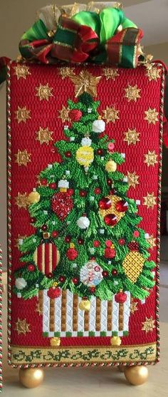 needlepoint Christmas tree stand-up, Melissa Shirley canvas