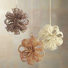 C&B Bronze Glitter Loop Burst Ornament in Silver & Gold Ornaments | Crate and Barrel