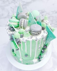 Garden of Sweets - Mint Grey drip cake with silver sprinkles, chocolate marbled chards and macarons - celebration buttercream cake Beautiful Cake Designs, Beautiful Cakes, Amazing Cakes, Cute Cakes, Yummy Cakes, 22nd Birthday Cakes, Macaroon Cake, Buttercream Fondant, Minnie Cake