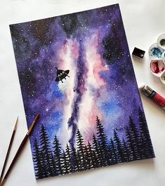 UFO watercolor galaxy painting original - wall art deco watercolour interior design decor - Leben Ideen - Neele Sakowski - Space Everything Watercolor Galaxy, Galaxy Painting, Pastel Watercolor, Galaxy Art, Alien Painting, Watercolor Paintings Tumblr, Watercolor Projects, Arte Pop, Original Paintings