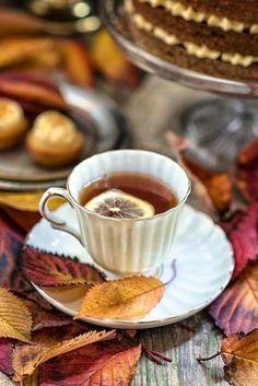 ღ Tea,Pumpkin praline cake Coffee Time, Tea Time, Chocolate Cafe, Comidas Fitness, Praline Cake, Autumn Tea, Autumn Harvest, Warm Autumn, Pause Café