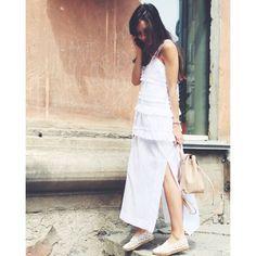 Achers white maxi summer dress with ruffles #achers#white#maxi#summer#cotton#dress#casual#trendy#whitedress#maxidress#summerdress#cottondress#ruffleddress#casualdress#trendydress