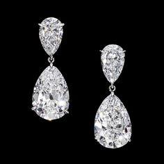 Pear-cut diamond earrings