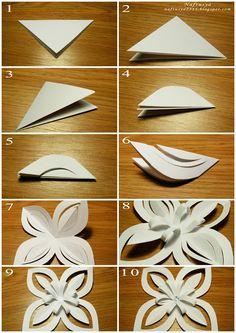 Нафтусины рукотворочки: Снежинка оригами Paper Flower Patterns, Paper Flowers Craft, Paper Crafts Origami, Paper Flower Tutorial, Flower Crafts, Diy Flowers, Diy Paper, Christmas Paper Crafts, Christmas Crafts