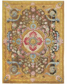 AN IMPORTANT LOUIS XV SAVONNERIE CARPET  FRANCE, CIRCA 1740-1760, WOVEN IN THE ROYAL SAVONNERIE MANUFACTORY AT CHAILLOT, FROM THE CARTOON FOR LOUIS XV'S DINING ROOM CARPET AT FONTAINEBLEAU, DESIGNED BY PIERRE-JOSSE PERROT