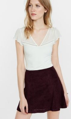 chiffon yoke fitted v-neck tee from EXPRESS