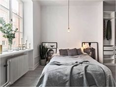 Scandinavian Bedroom Design Scandinavian style is one of the most popular styles of interior design. Although it will work in any room, especially well . Design Scandinavian, Scandinavian Bedroom, Cozy Bedroom, Bedroom Decor, Bedroom Ideas, Bedroom Designs, Serene Bedroom, Bedroom Inspiration, Scandinavian Blankets