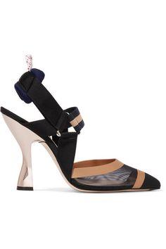FENDI | Mesh, canvas and rubber slingback pumps #Shoes #Pumps #High_Heel #FENDI