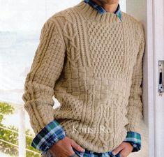 Мужской свитер спицами. Схема вязания
