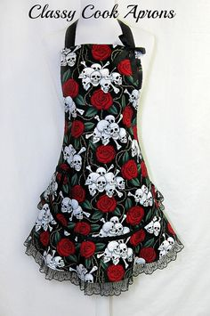 Apron SKULLS & ROSES, Red and Black LACE, Goth Sexy RUFFLED Flounce, Pretty Party Hostess, Unique Gift, by ClassyCookAprons, $38.50