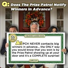 The Prize Patrol says.....
