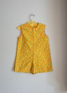 70s RETRO Kids Groovy Floral Romper Jumper.....size 2T 3T.....mod. floral. groovy. retro. jumper. romper. kids. girls. toddler. children. $14.00, via Etsy.