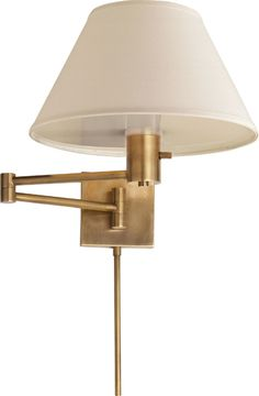 Visual Comfort Studio Classic Swing Arm Wall Lamp in Hand-Rubbed Antique Brass with Linen Shade Comfort & Co. Classic Swing Arm Wall Lamp in Hand-Rubbed Antique Brass with Linen Shade Product Code: Finish: Hand-Rubb Swing Arm Wall Light, Swing Arm Wall Sconce, Wall Sconce Lighting, Wall Sconces, Bedroom Lighting, Kitchen Lighting, House Lighting, Bedroom Sconces, Bedroom Wall
