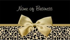 Glam Black And Gold Leopard Print Gold Ribbon Business Card - $21.95