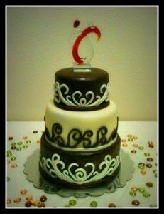 Non-traditional 3 Tiered Wedding Cake Covered in Modeling Chocolate ...