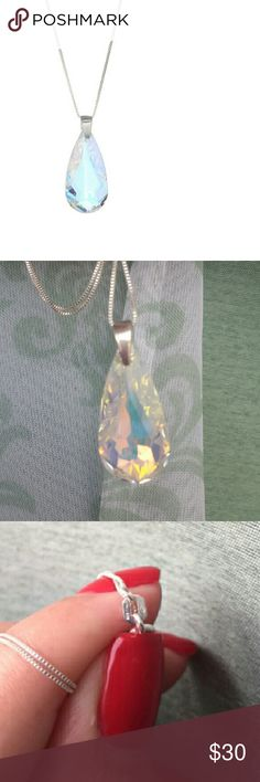 Aurora Borealis Swarovski Crystal Teardrop Necklac Beautiful Perfect Gift!  NEW Dazzling with Swarovski crystals and boasting an iridescent finish, this teardrop pendant hangs from a gleaming Sterling Silver chain for an effortlessly chic finish to your look.  *Chain: 18'' L Pendant: 0.75'' W x 1.25'' L  *Spring Ring Clasp  *Sterling silver *Swarovski crystal                      Imported From Italy / By Sevil  Final Sales / No Returns For Hygienic Purposes Swarovski Jewelry