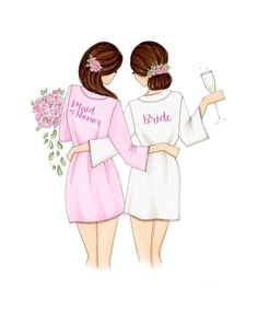 Maid of honor and bride! mix and match hair color, fashion illustration print, art print, sketch, croquis Hair Fashions – Hair Models-Hair Styles Best Friend Drawings, Bff Drawings, Illustration Mode, Illustration Fashion, Design Illustrations, Fashion Art, Color Fashion, Party Fashion, Fashion Design