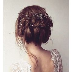 45 Most Romantic Wedding Hairstyles For Long Hair ❤ liked on Polyvore featuring beauty products, haircare, hair styling tools, hair, hairstyles and curly hair care