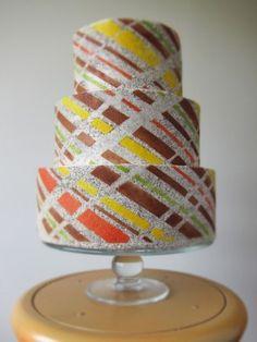 Vintage - fondant free, sponge cake exterior - orange white yellow brown green ivory