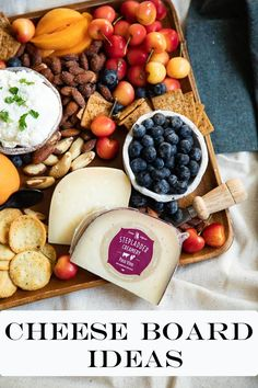 These cheese board ideas will help you create the perfect appetizer board and grazing platter everytime. Delicious, local cheeses, and seasonal fruit! A great starter for dinner parties and get togethers all year round. Whole Food Recipes, Snack Recipes, Healthy Recipes, Snacks, Dinner Party Starters, Good Food, Yummy Food, Fruit In Season, Best Appetizers