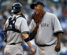 GAME 26: Friday, May 4, 2012 - New York Yankees starting pitcher CC Sabathia, right, talks with catcher Chris Stewart (19) during the first inning of a baseball game against the Kansas City Royals in Kansas City, Mo. (AP Photo/Orlin Wagner)