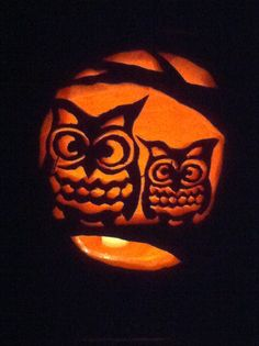 Print out a free pumpkin template and with a few household knives and instruments you can achieve these adorable owls on your next pumpkin!
